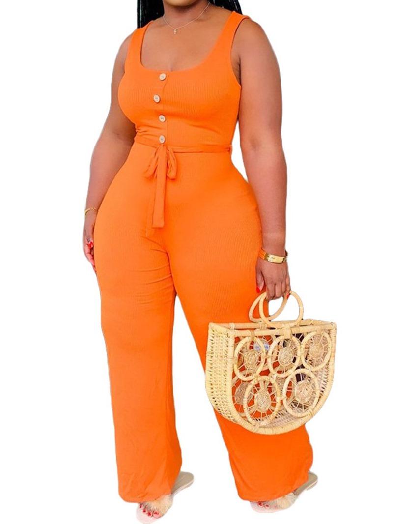 Ericdress Casual Lace-Up Plain Women's Slim Jumpsuit