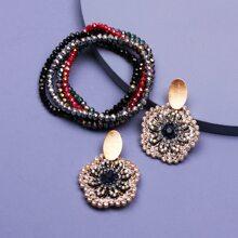 1 Paar Ohrringe mit Strass Dekor & 5 Stuecke Armband mit Perlen