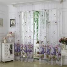 Flower Print Single Panel Sheer Curtain