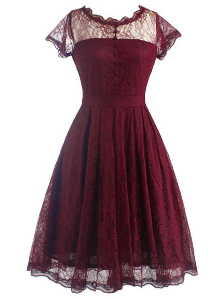 Milanoo Lace Vintage Dress Black Cap Sleeve Cut Out Semi-sheer Ruffle A Line Flared Dress