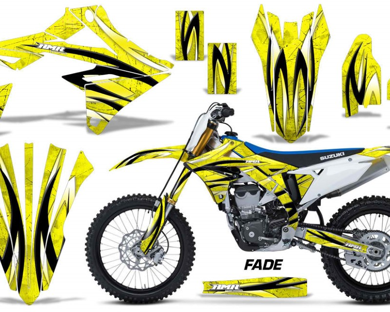 AMR Racing Dirt Bike Graphics Kit Decal Sticker Wrap For Suzuki RMZ450 2018+áFADE YELLOW