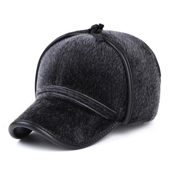 Men Women Faux Mink Fur Earflap Earmuffs Baseball Cap Outdoor Ear Protective Hat