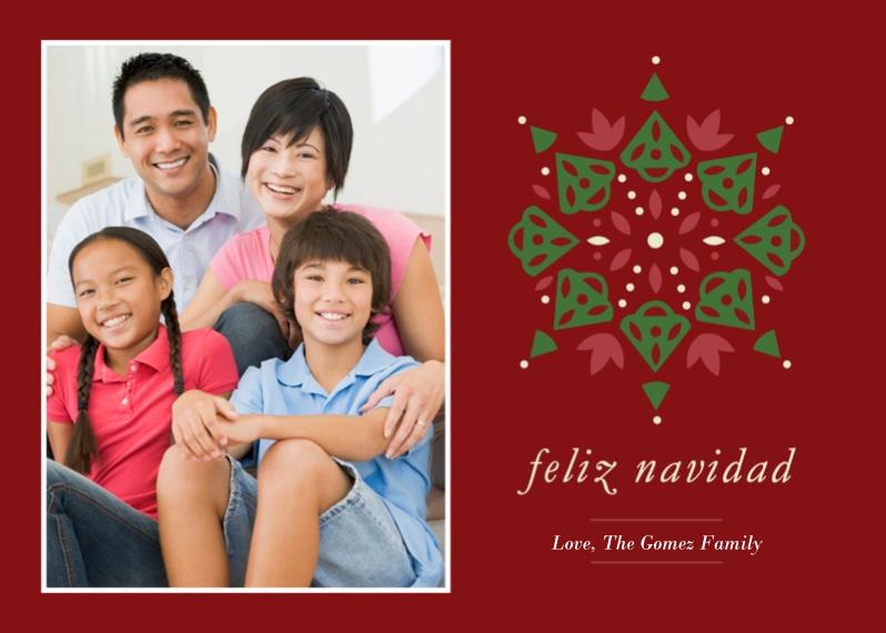 Tarjetas de Navidad 5x7 Folded Cards, Premium Cardstock 120lb, Card & Stationery -Feliz Navidad Pattern