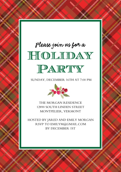 Christmas & Holiday Party Invitations Flat Matte Photo Paper Cards with Envelopes, 5x7, Card & Stationery -Holiday Party Plaid