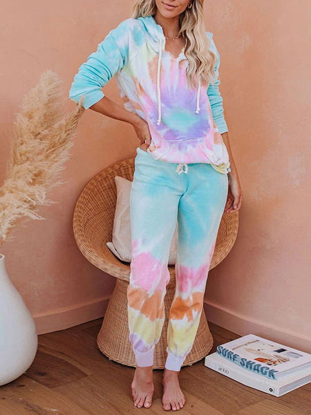Milanoo Two Piece Sets Light Sky Blue Tie Dye Pockets Long Sleeve Hoodie With Pants For Women