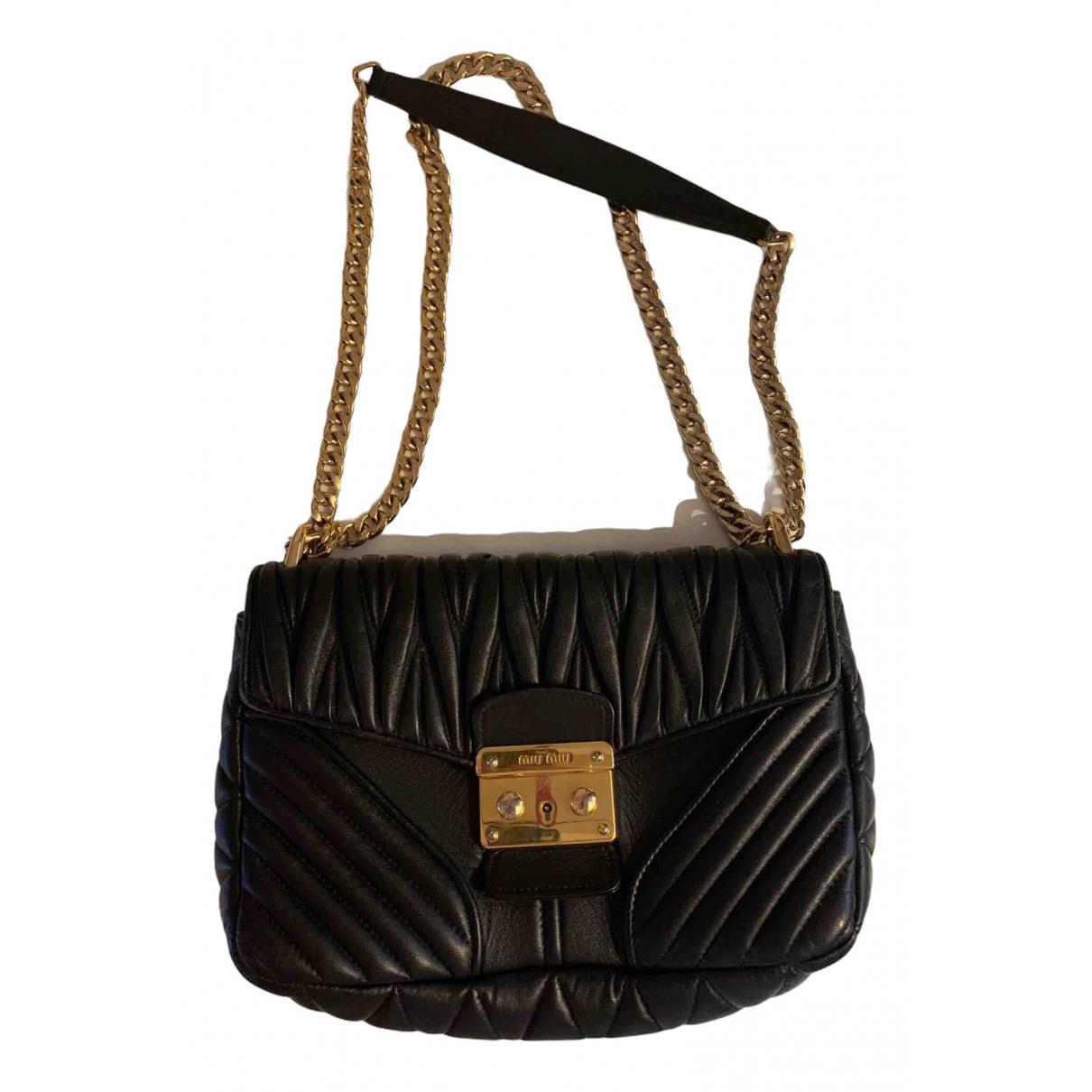 Miu Miu - Pochette Matelasse pour femme en cuir - noir