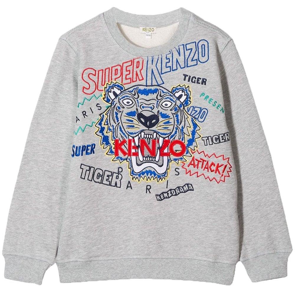 Kenzo Kids Super Kenzo Graphic Print Sweatshirt Colour: GREY, Size: 10 YEARS