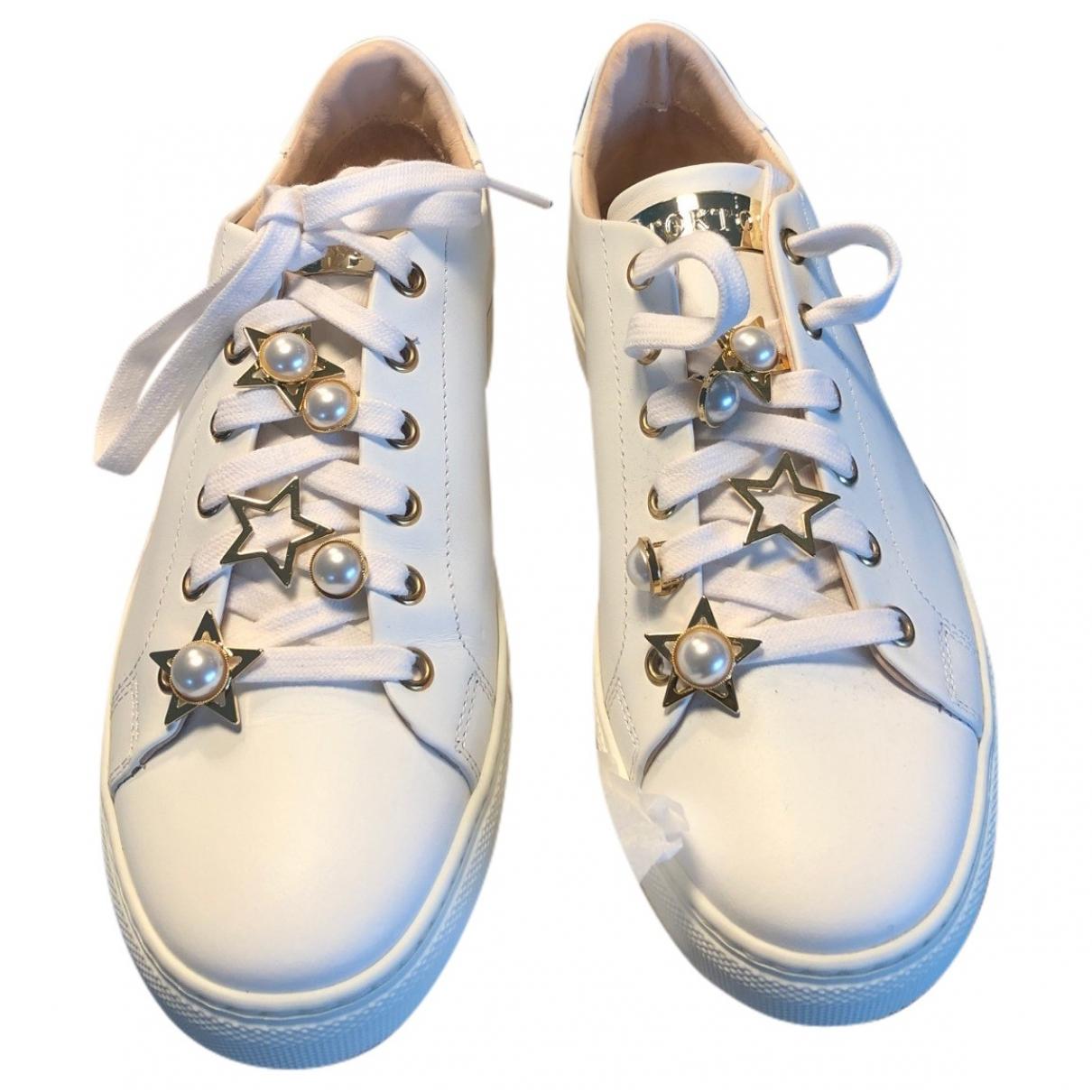 Stokton - Baskets   pour femme en cuir - blanc