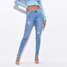 Push Up Ripped Detail Skinny Jeans