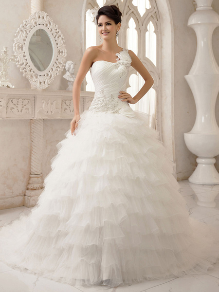 Milanoo Wedding Dresses One Shoulder Ball Gowns Bridal Dress Pleated Tiered Beading Princess Wedding Gown