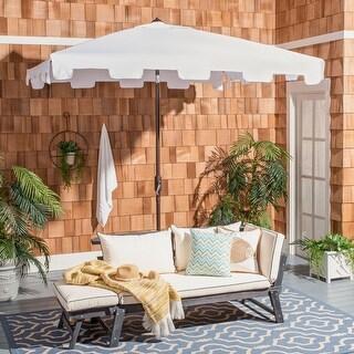 Safavieh Outdoor Living Zimmerman 7.5 Ft Square Market Umbrella, Base Not Included (White)