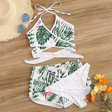 Bikini Set mit Pflanzen, Kreuz und Shorts 3pcs