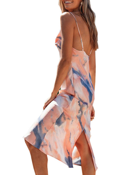 Milanoo Yellow Maxi Dresses Women Sleeveless Straps Neck Printed Pleated Backless Long Dresses