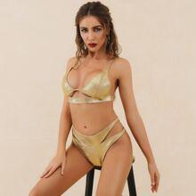 Lucra Bikini Badeanzug mit Band hinten, Ausschnitt und Glitzer