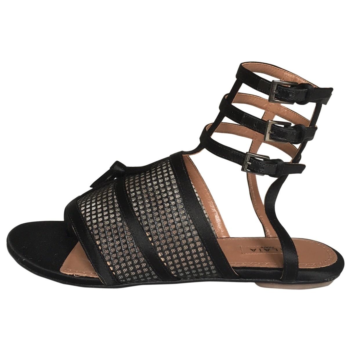 Alaia - Sandales   pour femme en toile - noir