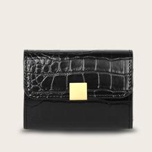 Brieftasche mit Krokodil Praegung und Klappe