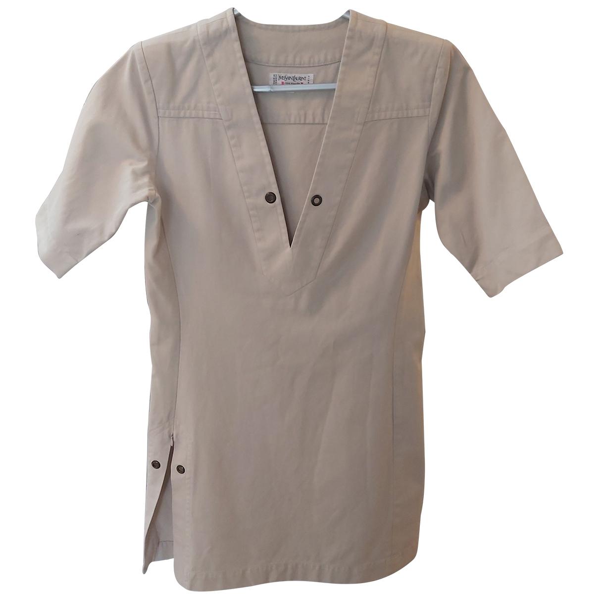 Yves Saint Laurent \N Beige Cotton dress for Women 38 FR
