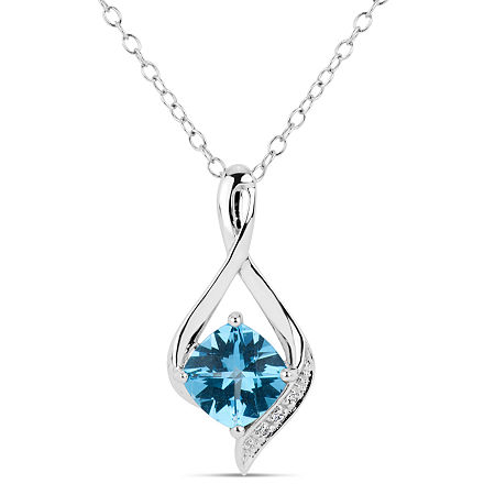 Sterling Silver Blue and White Genuine Topaz Pendant Necklace featuring Swarovski Genuine Gemstones, One Size , No Color Family