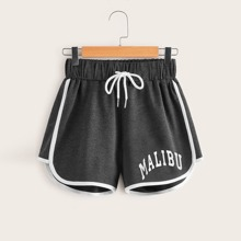 Letter Graphic Dolphin Shorts