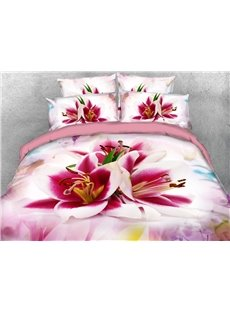 Lily Floral Pattern Machine Washable Soft Lightweight Warm 3D Printed 5-Piece Comforter Sets