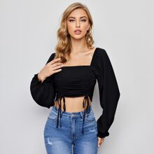 Ruched Drawstring Front Ruffle Cuff Crop Top