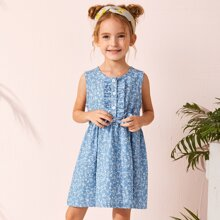 Denim Kleid mit Schleife vorn und Bluemchen Muster