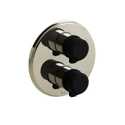 Momenti TMMRD46JPNBK 4-Way Thermostatic/Pressure Balance Coaxial Valve Trim with J Lever Handles  in Polished