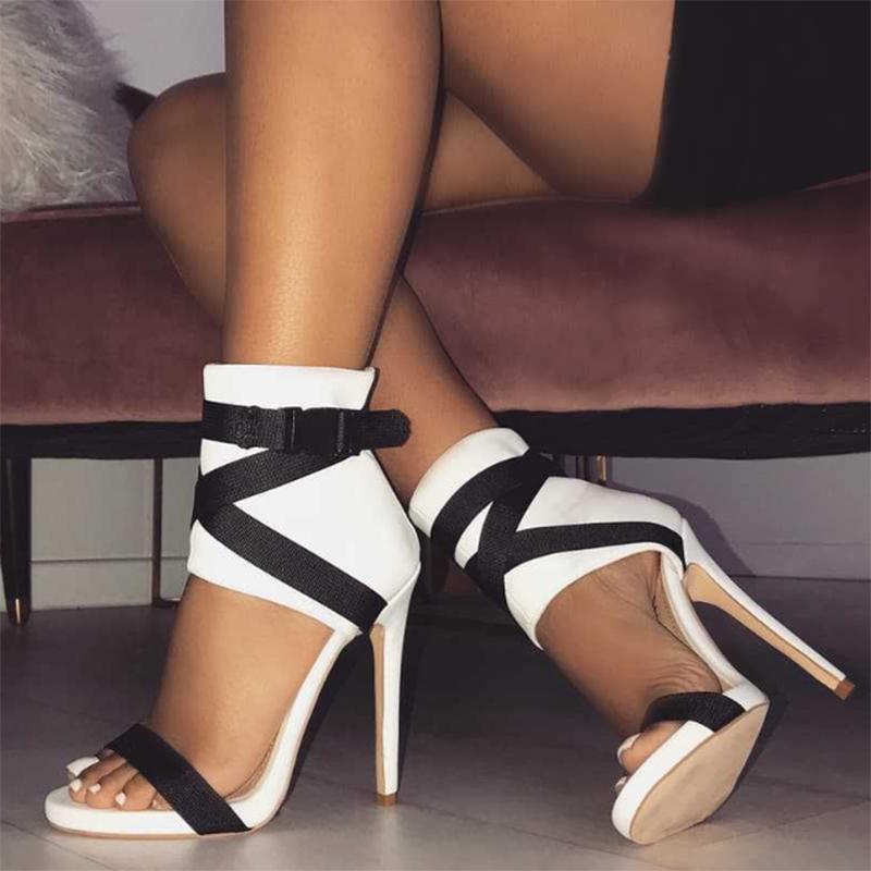 Ericdress Red Buckle Zipper Stiletto Heel Sandals
