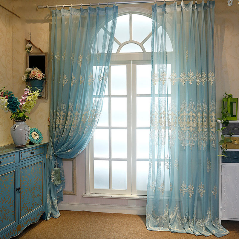 Elegant Classic Custom Living Room Embroidery Sheer Curtains 84W 84L Inches Polyester 30% Shading Rate and UV Rays Environment-Friendly and Pollution-