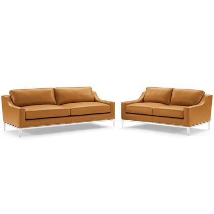 Harness Collection EEI-4196-TAN-SET Stainless Steel Base Leather Sofa and Loveseat Set in Tan