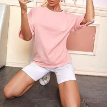 Solid Drop Shoulder Tee & Track Shorts PJ Set