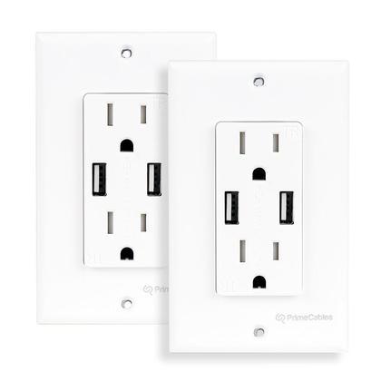 3.1A double port USB intelligent de recharge rapide, prise double décora inviolable - PrimeCables® - 2/paquet