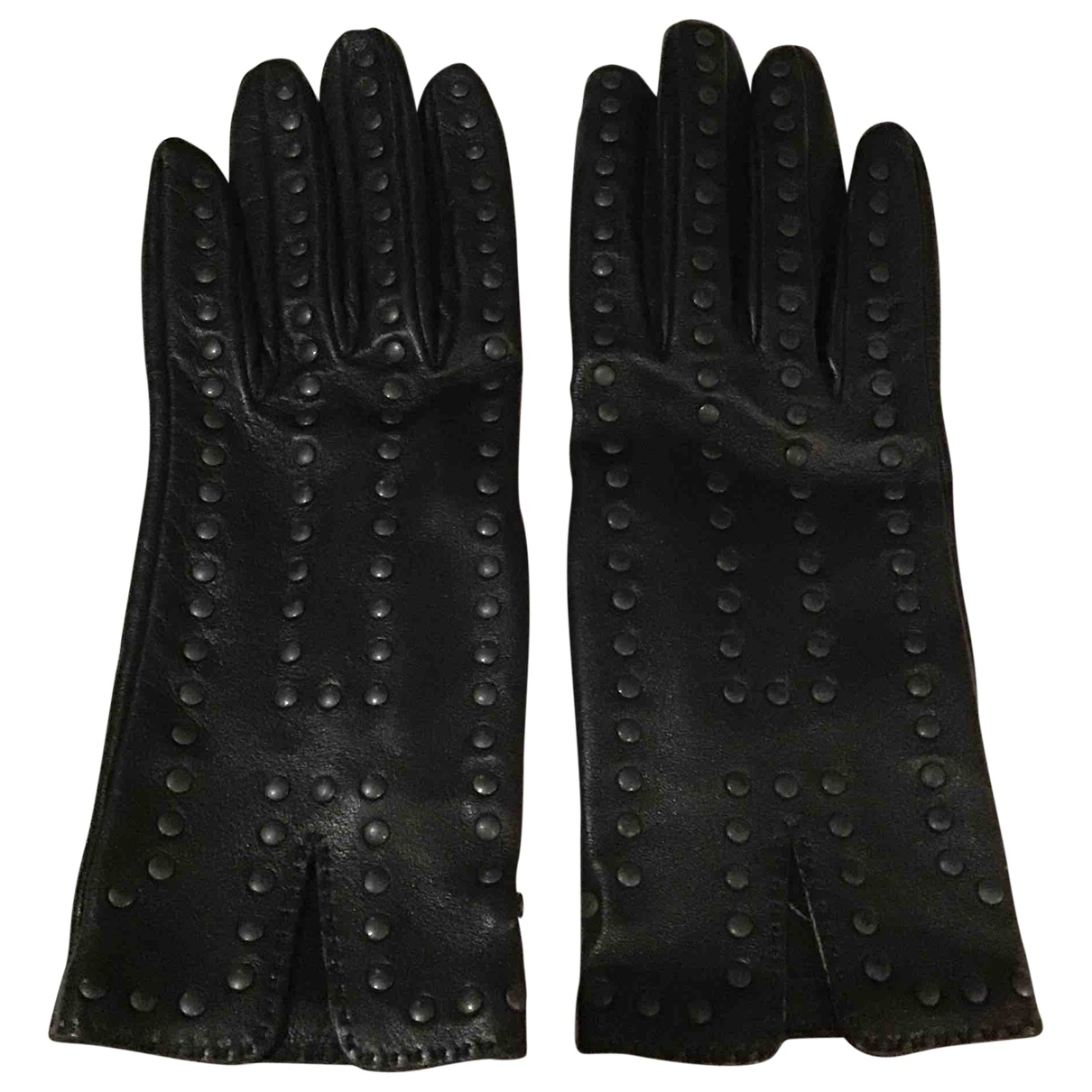 Hermès \N Black Leather Gloves for Women S International