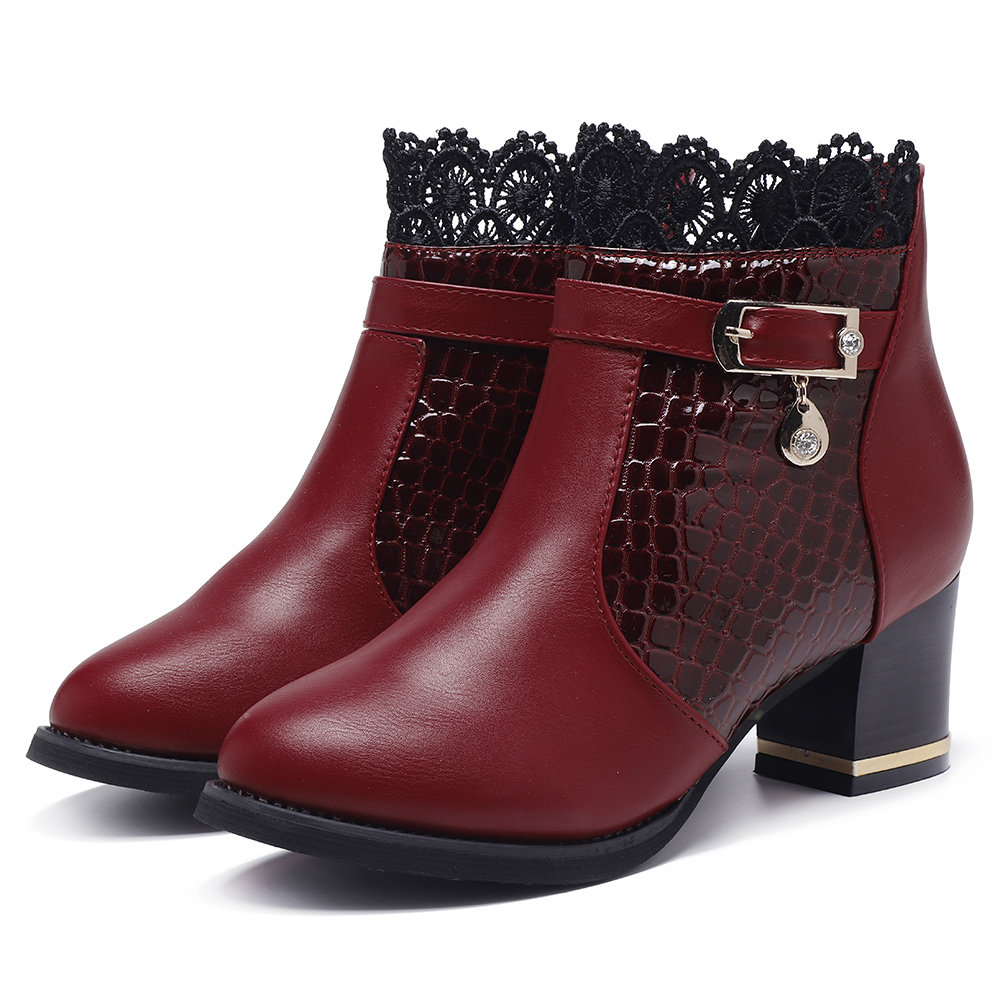 Veins Leather Lacework Chunky Heel Boots