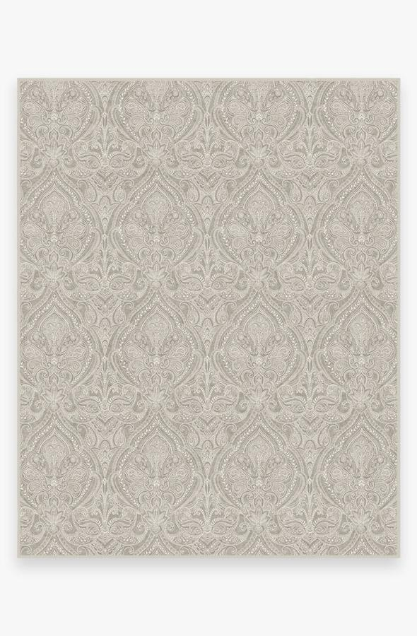 Washable Rug Cover & Pad | Lacis Damask Stone Rug | Stain-Resistant | Ruggable | 8'x10'