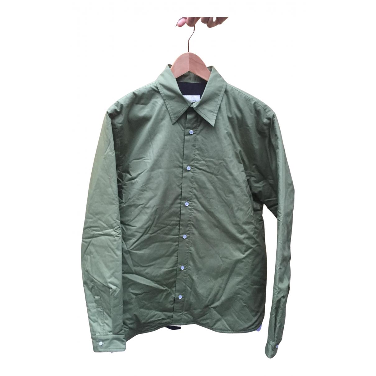 Non Signé / Unsigned N Green Cotton Shirts for Men 39 EU (tour de cou / collar)