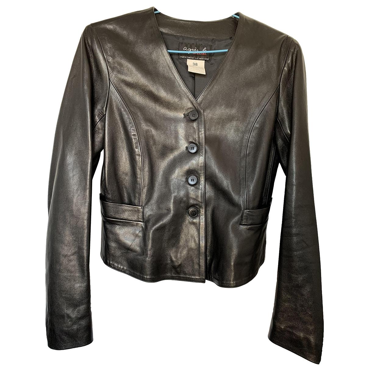 Agnes B. - Veste   pour femme en cuir - noir