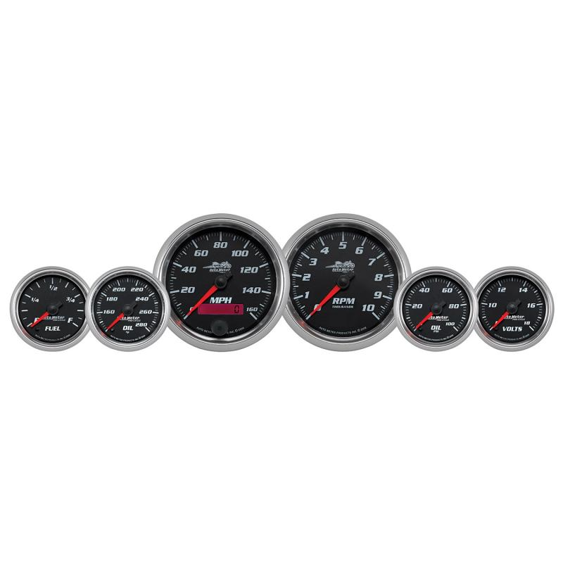 AutoMeter GAUGE KIT; 6 PC. KIT; 3 3/8in./2 1/16in.; BAGGER; BLACK; PRO-CYCLE