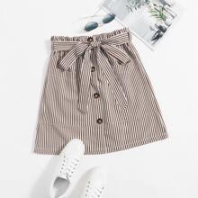 Paperbag Waist Buttoned Front Pocket Front Striped Skirt