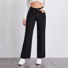 BLUES Stone Wash Middle-Waisted Straight Jeans