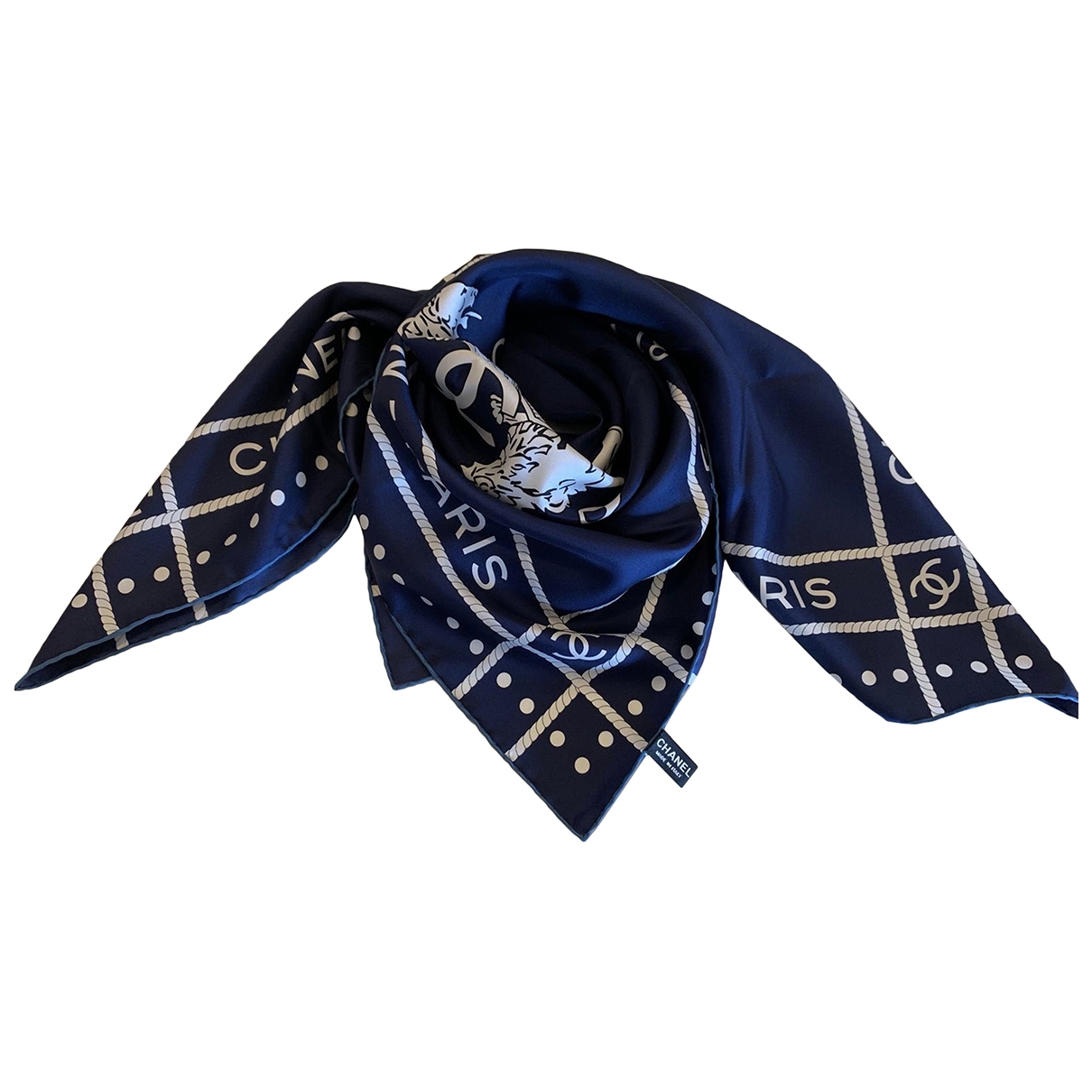 Chanel \N Navy Silk Silk handkerchief for Women \N