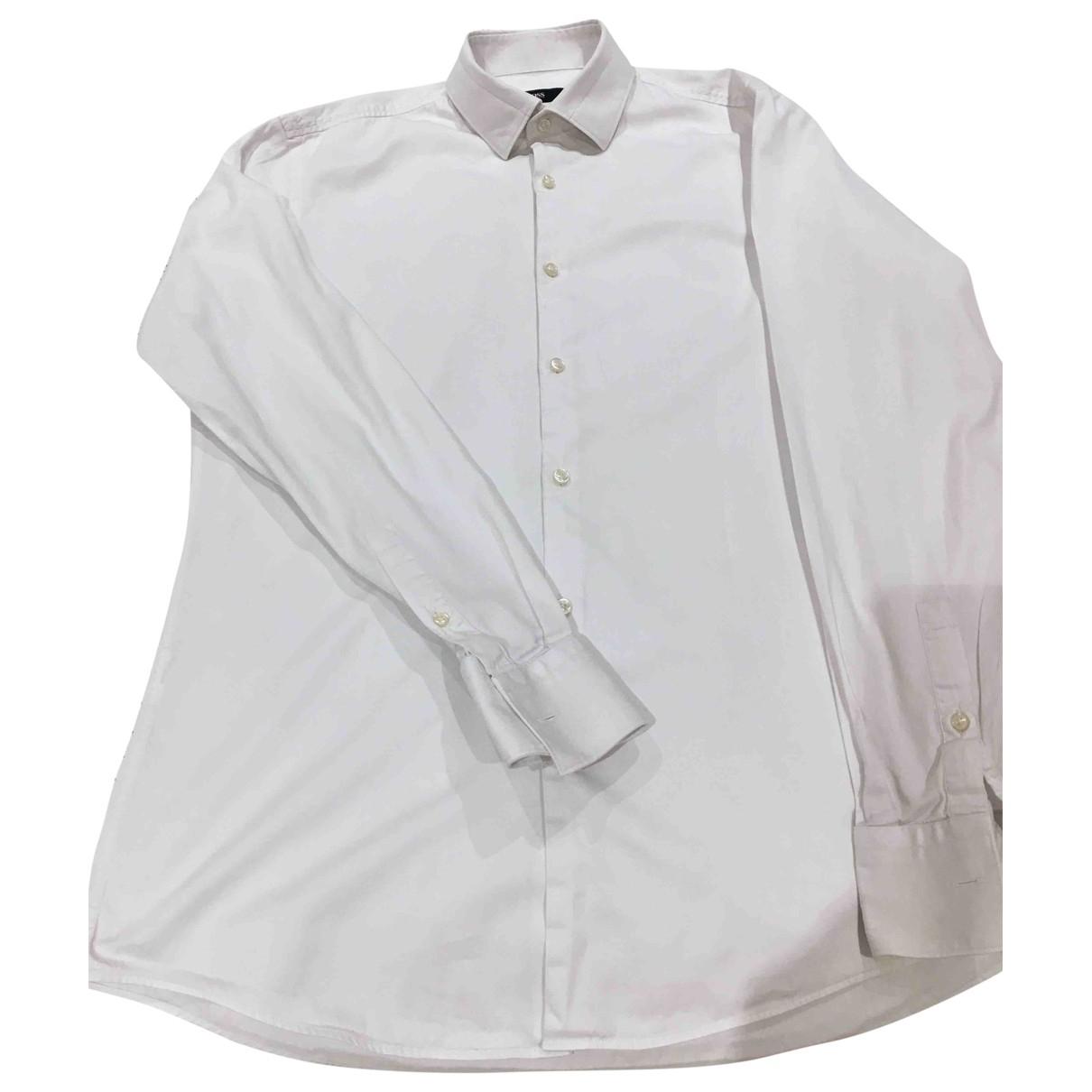 Hugo Boss \N White Cotton Shirts for Men 39 EU (tour de cou / collar)