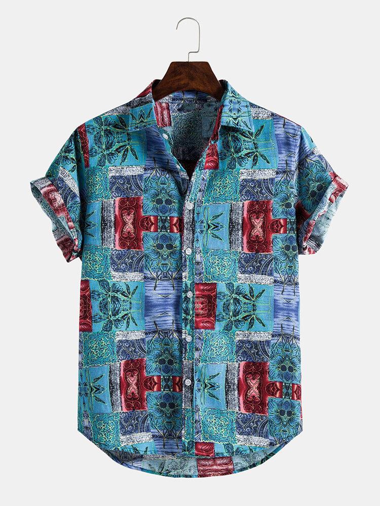 Mens 3D Printing Floral Breathable Holiday Casual Short Sleeve Shirts