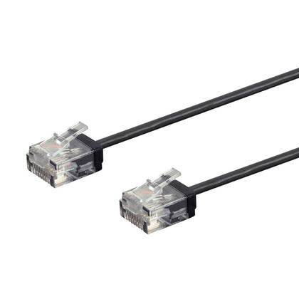 Micro SlimRun 550MHz 36AWG Cat6 UTP Stranded Ethernet Patch Cable - Monoprice® - 1ft, Black