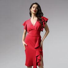 Zip Back Ruffle Trim Fitted Dress