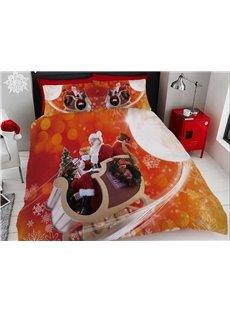 Santa Claus Bring Presents Printing Cotton 4-Piece 3D Bedding Sets/Duvet Covers