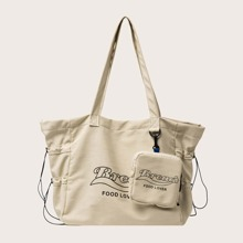 Letter Graphic Tote Bag With Purse