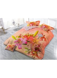 Warmth Orange Blooming Lily Flower Wear-resistant Breathable High Quality 60s Cotton 4-Piece 3D Bedding Sets