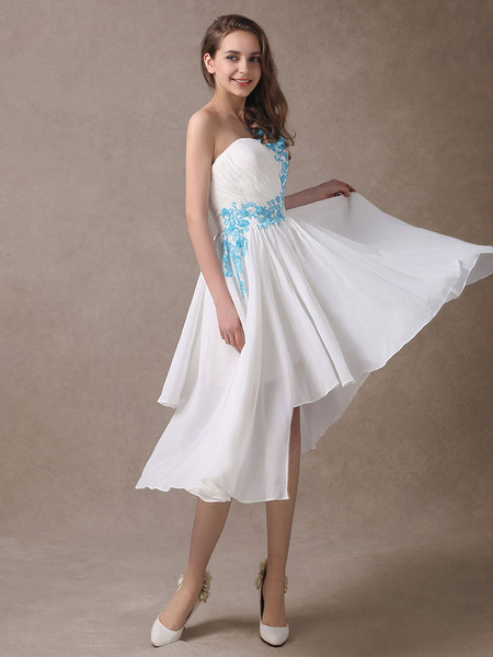 Milanoo Simple Wedding Dresses Ivory Applique Sleeveless A Line Chiffon Bridal Gown