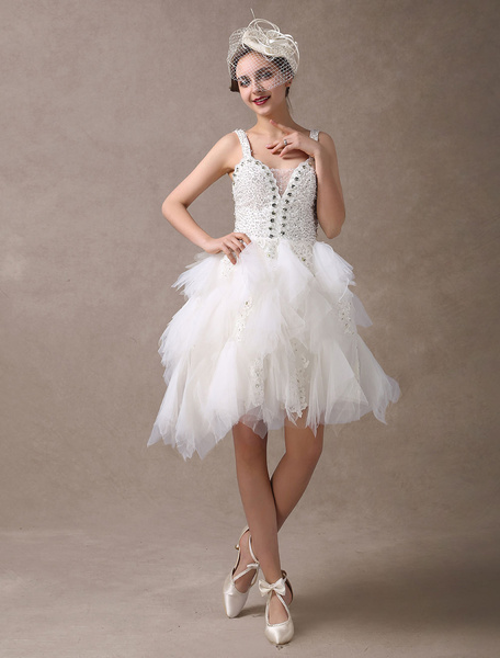 Milanoo Short Wedding Dresses Beaded Straps Ivory Vintage Tulle Bridal Reception Dress